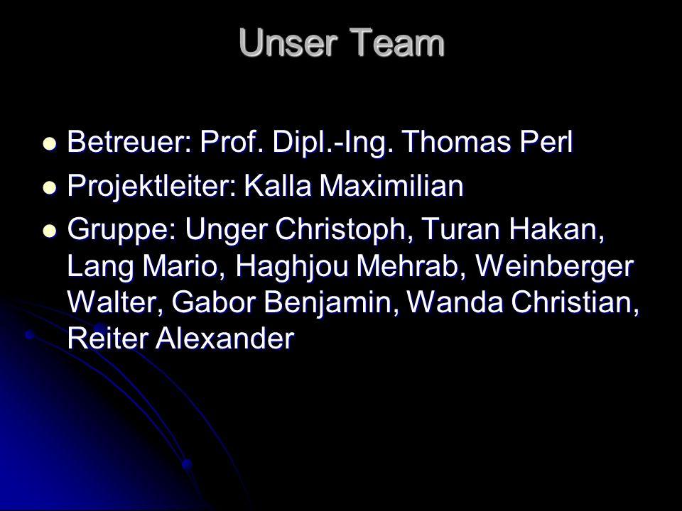 Unser Team Betreuer: Prof. Dipl.-Ing. Thomas Perl
