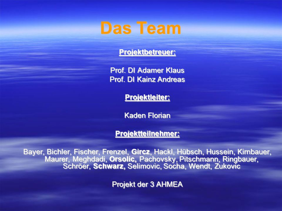 Das Team Projektbetreuer: Prof. DI Adamer Klaus Prof. DI Kainz Andreas