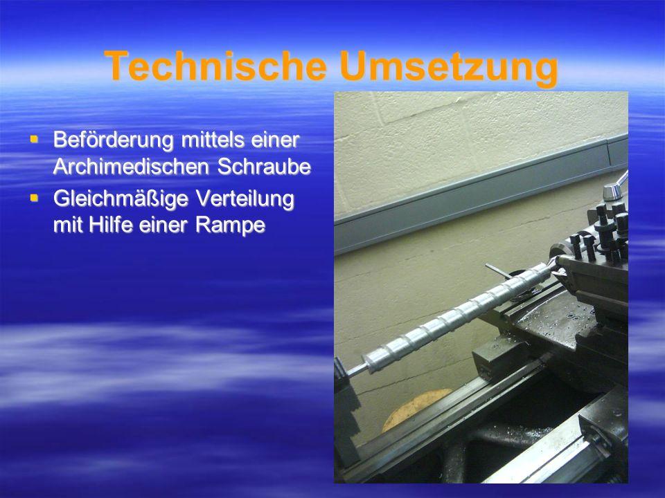 Technische Umsetzung Beförderung mittels einer Archimedischen Schraube