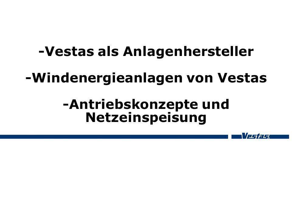 -Vestas als Anlagenhersteller -Windenergieanlagen von Vestas -Antriebskonzepte und Netzeinspeisung