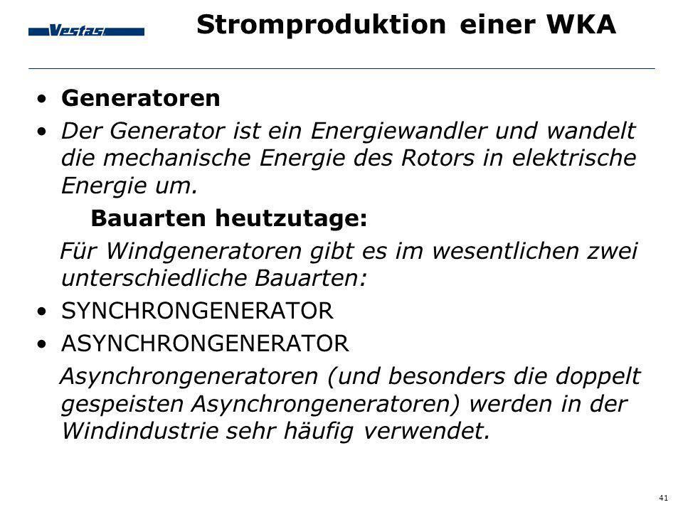 Stromproduktion einer WKA