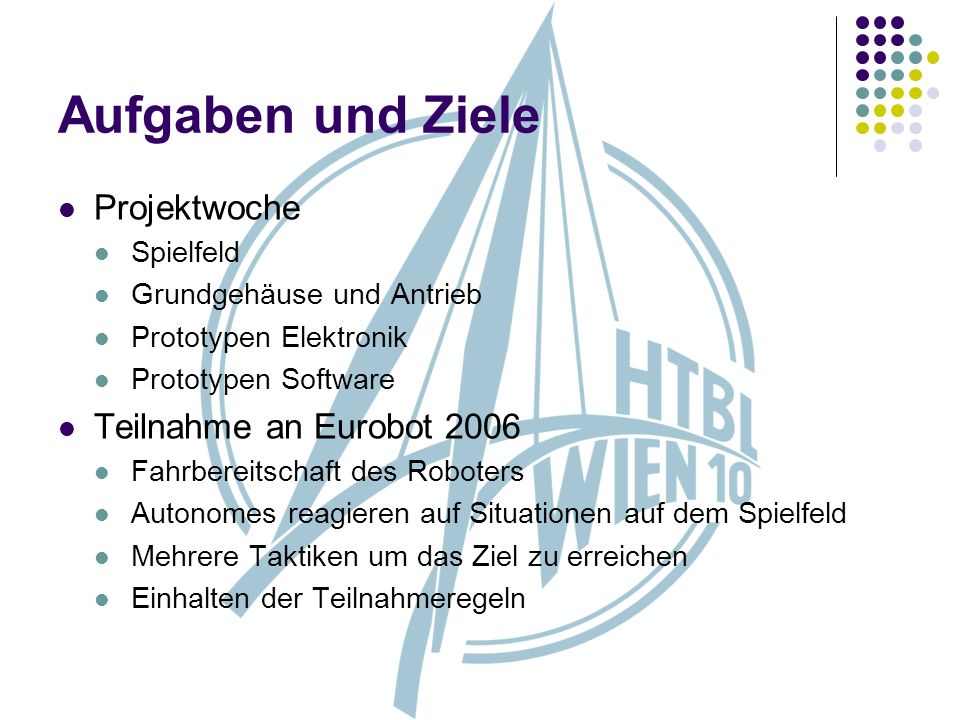 Aufgaben und Ziele Projektwoche Teilnahme an Eurobot 2006 Spielfeld