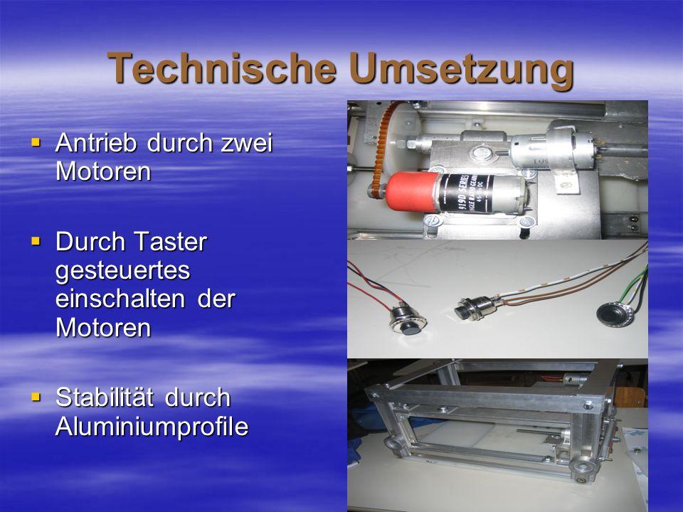 Technische Umsetzung Antrieb durch zwei Motoren