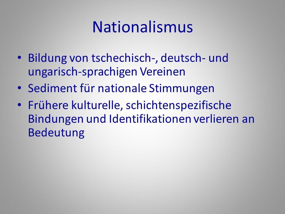 Nationalismus Bildung von tschechisch-, deutsch- und ungarisch-sprachigen Vereinen. Sediment für nationale Stimmungen.