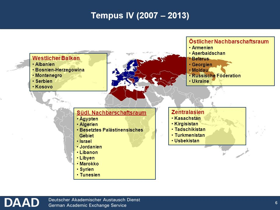 Tempus IV (2007 – 2013) Östlicher Nachbarschaftsraum Westlicher Balkan