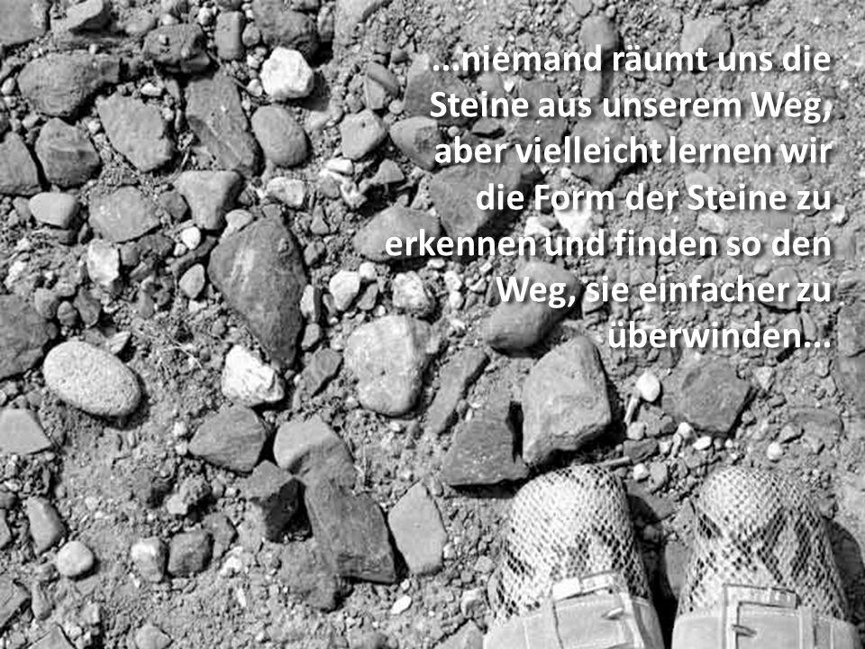 ...niemand räumt uns die Steine aus unserem Weg,