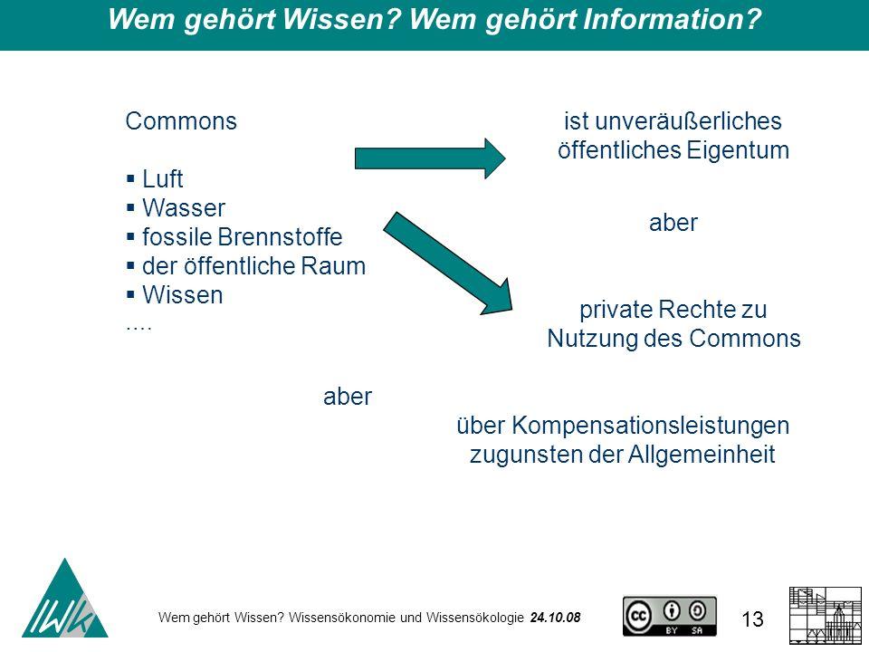 Wem gehört Wissen Wem gehört Information