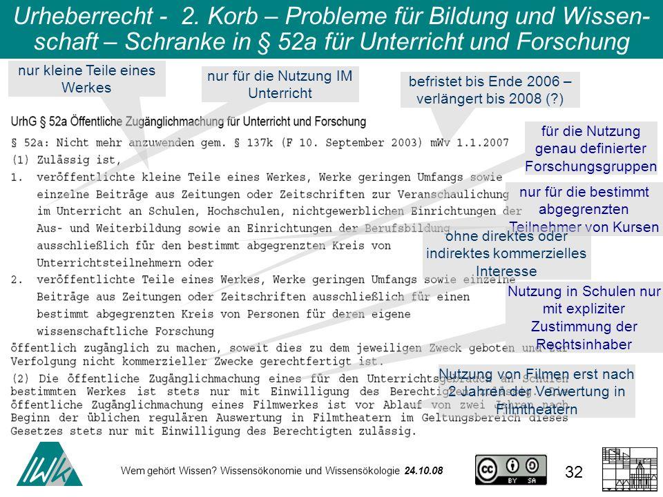 Urheberrecht - 2. Korb – Probleme für Bildung und Wissen-schaft – Schranke in § 52a für Unterricht und Forschung
