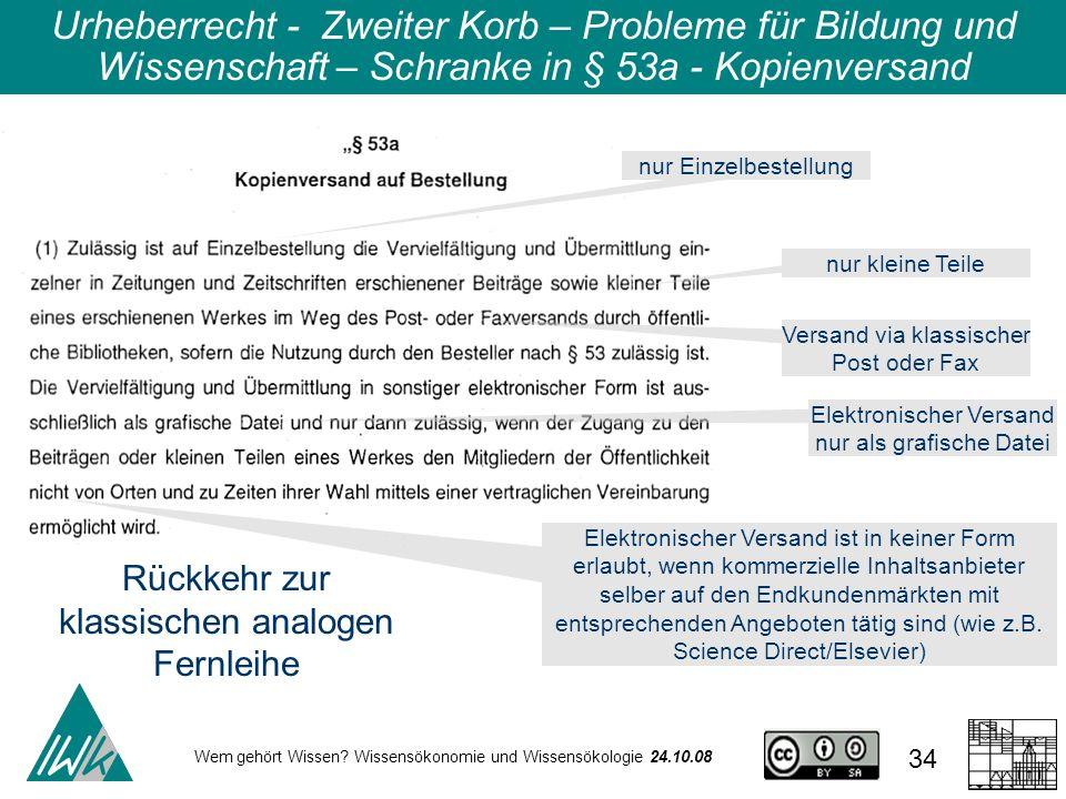 Urheberrecht - Zweiter Korb – Probleme für Bildung und Wissenschaft – Schranke in § 53a - Kopienversand