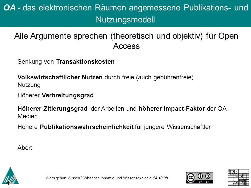 Alle Argumente sprechen (theoretisch und objektiv) für Open Access