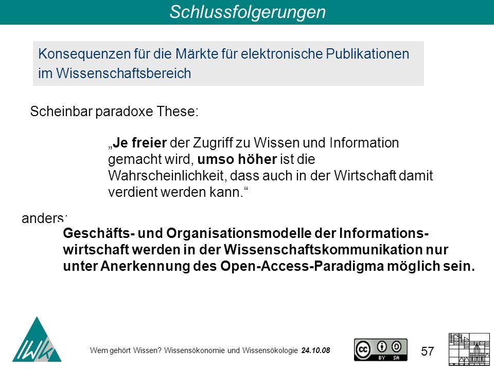 Schlussfolgerungen Konsequenzen für die Märkte für elektronische Publikationen im Wissenschaftsbereich.