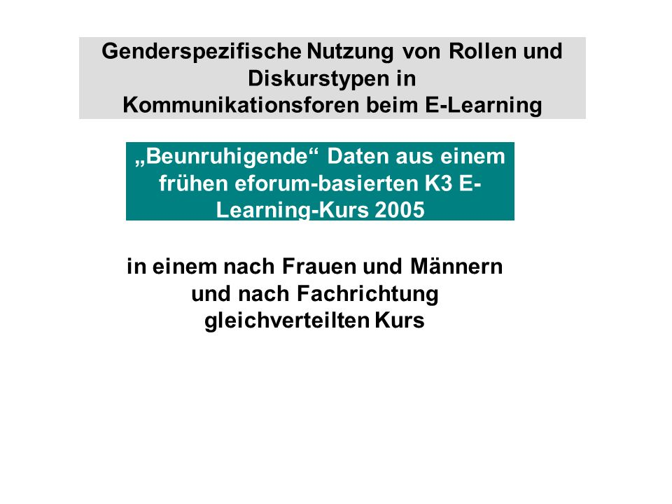 Genderspezifische Nutzung von Rollen und Diskurstypen in