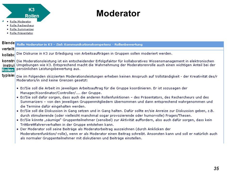 Moderator K3 Rollen Blended Learning verteilt kollaborativ