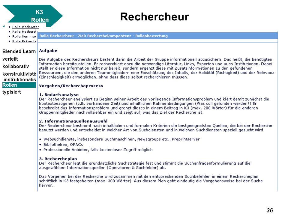 Rechercheur K3 Rollen Blended Learning verteilt kollaborativ