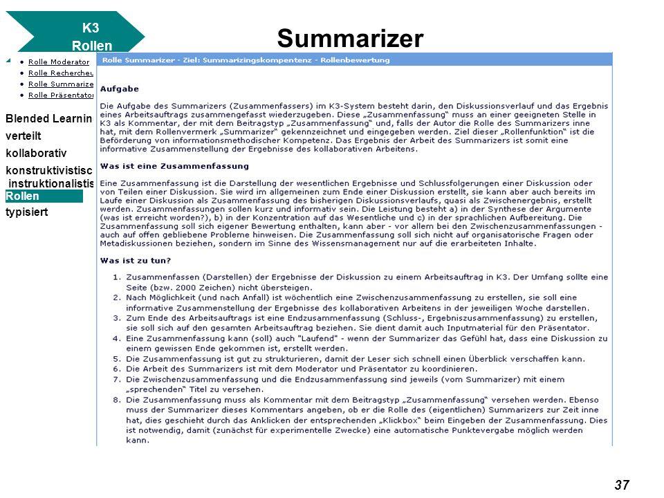Summarizer K3 Rollen Blended Learning verteilt kollaborativ