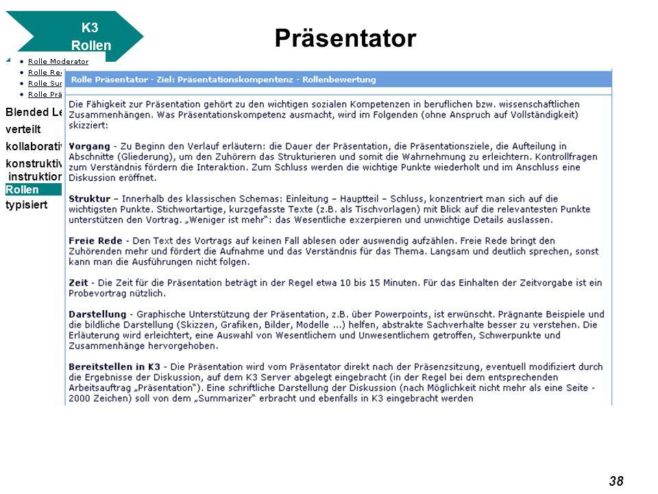 Präsentator K3 Rollen Blended Learning verteilt kollaborativ