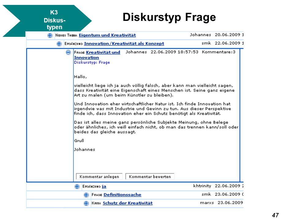 K3 Diskus- typen Diskurstyp Frage