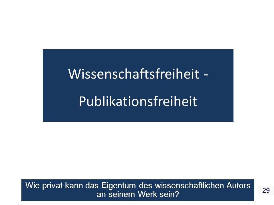Wissenschaftsfreiheit - Publikationsfreiheit