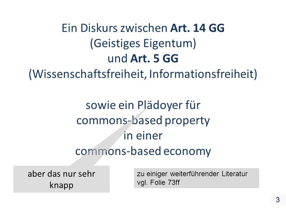 Ein Diskurs zwischen Art. 14 GG (Geistiges Eigentum) und Art. 5 GG