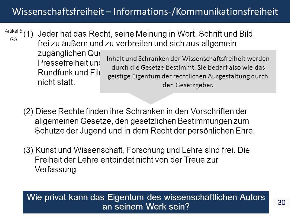 Wissenschaftsfreiheit – Informations-/Kommunikationsfreiheit