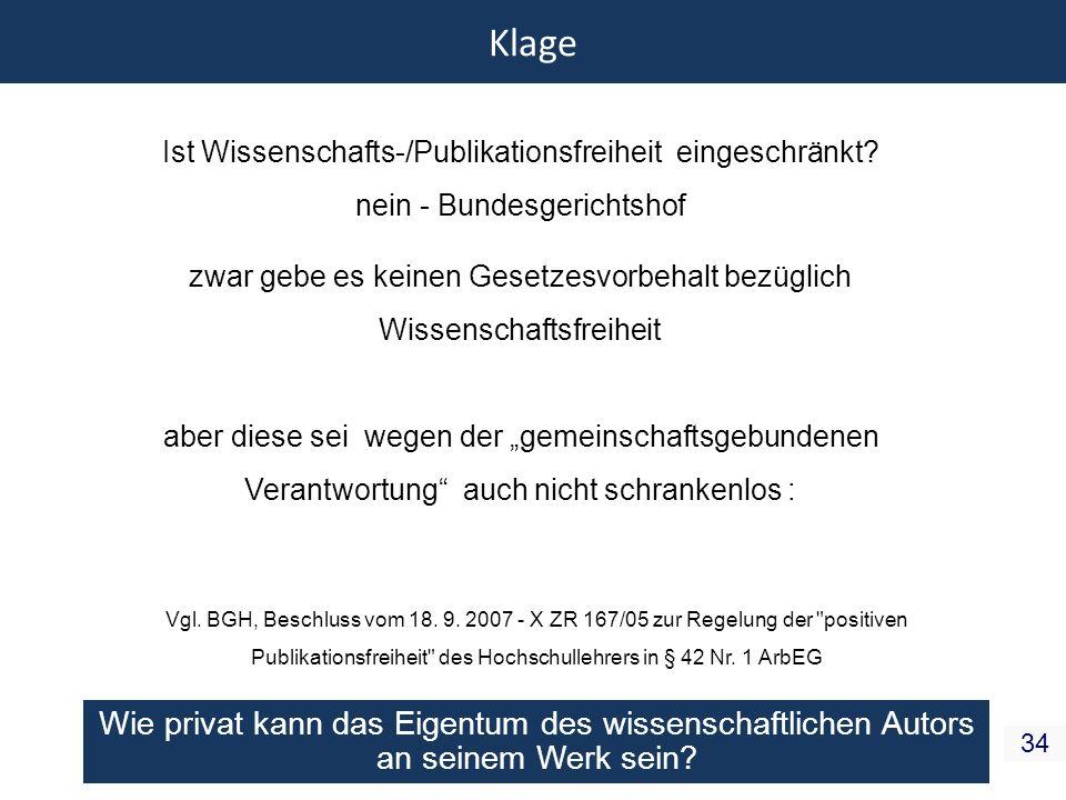 Klage Ist Wissenschafts-/Publikationsfreiheit eingeschränkt