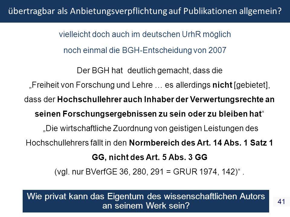 übertragbar als Anbietungsverpflichtung auf Publikationen allgemein