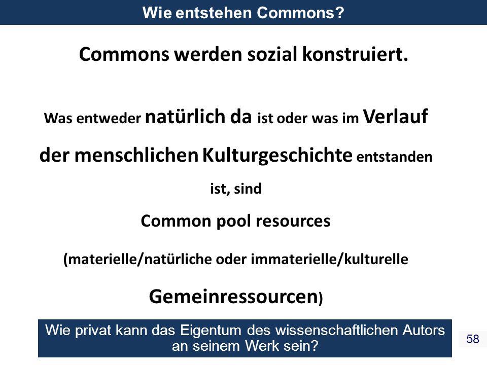 Commons werden sozial konstruiert.
