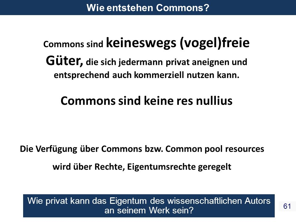 Commons sind keine res nullius