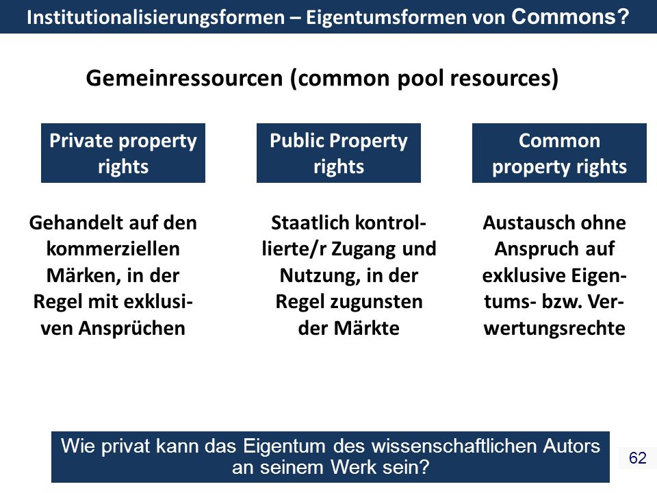 Gemeinressourcen (common pool resources)