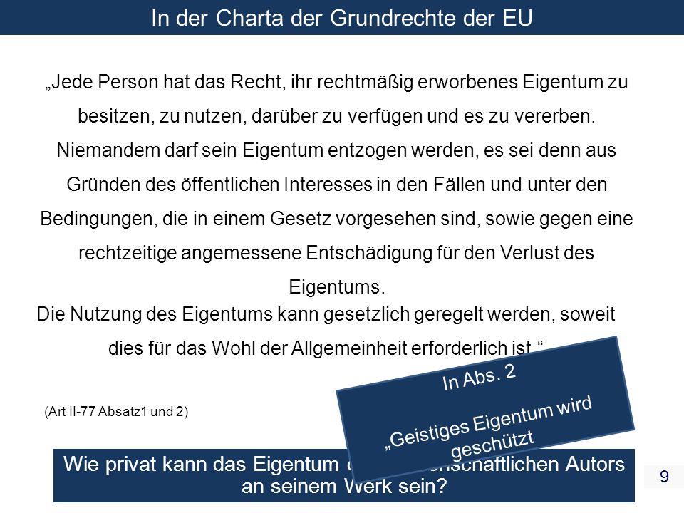 In der Charta der Grundrechte der EU