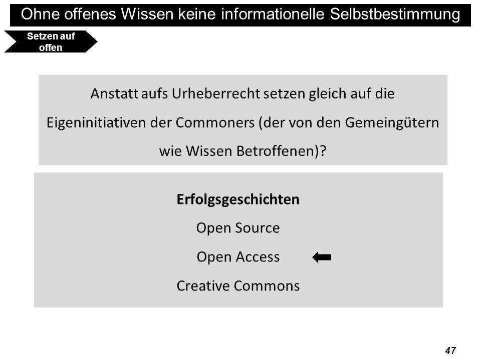 Setzen auf offen Anstatt aufs Urheberrecht setzen gleich auf die Eigeninitiativen der Commoners (der von den Gemeingütern wie Wissen Betroffenen)