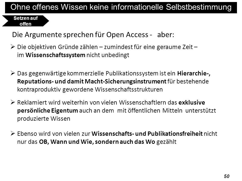 Die Argumente sprechen für Open Access - aber: