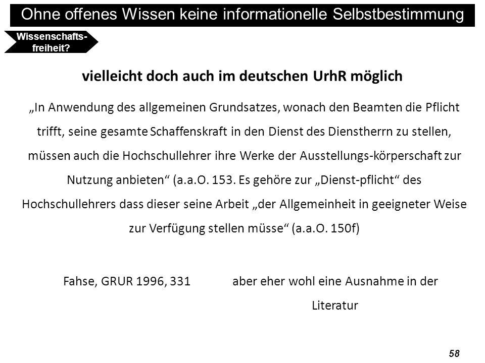 Wissenschafts-freiheit vielleicht doch auch im deutschen UrhR möglich