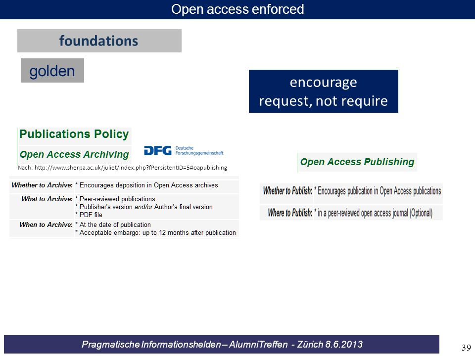 foundations golden encourage request, not require Open access enforced