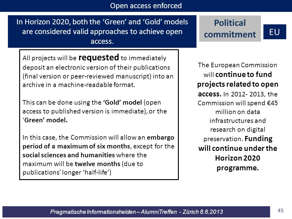 Political commitment EU Open access enforced