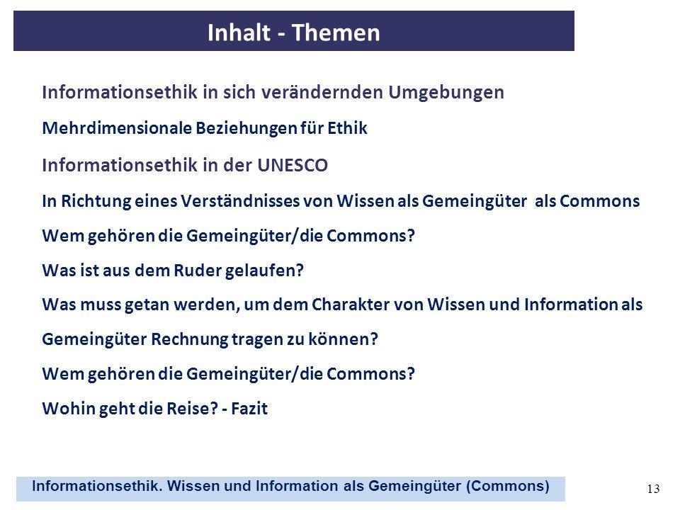 Inhalt - Themen Informationsethik in sich verändernden Umgebungen