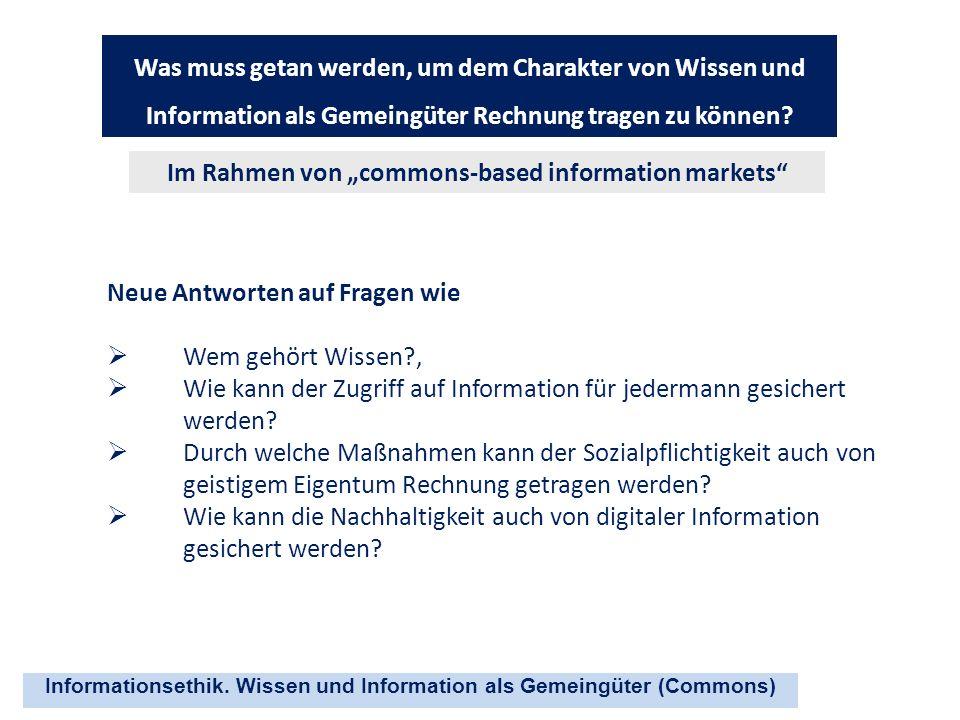 """Im Rahmen von """"commons-based information markets"""