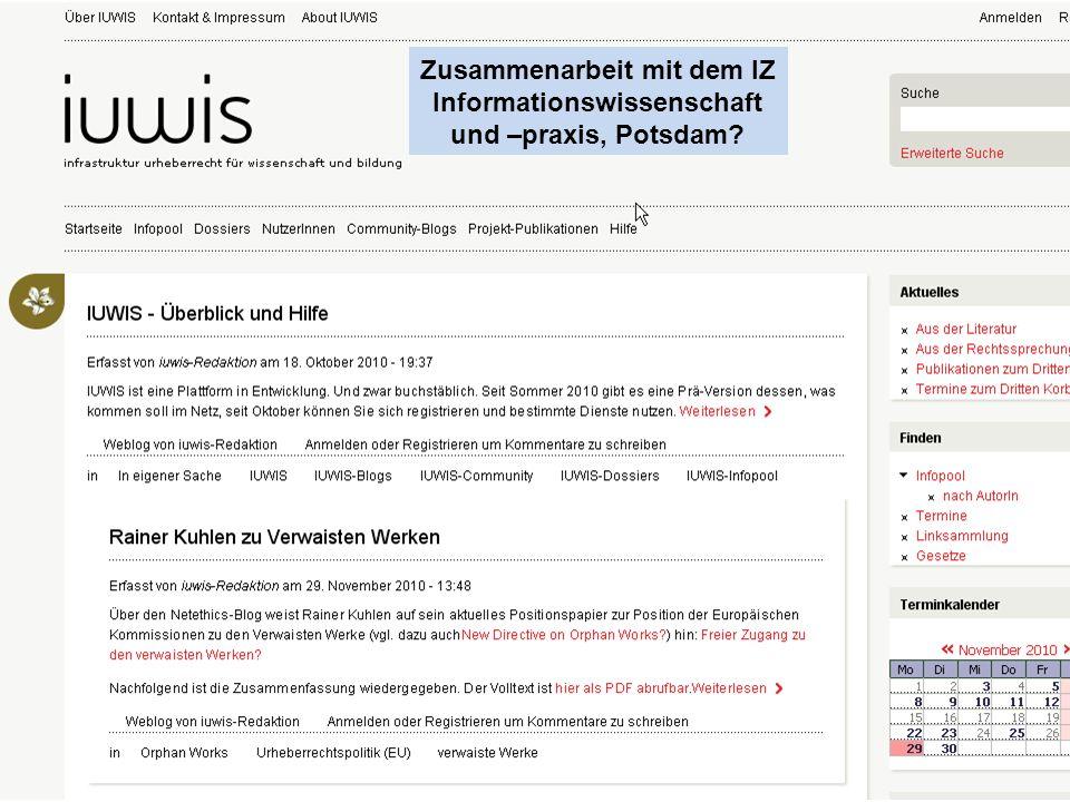 Zusammenarbeit mit dem IZ Informationswissenschaft und –praxis, Potsdam