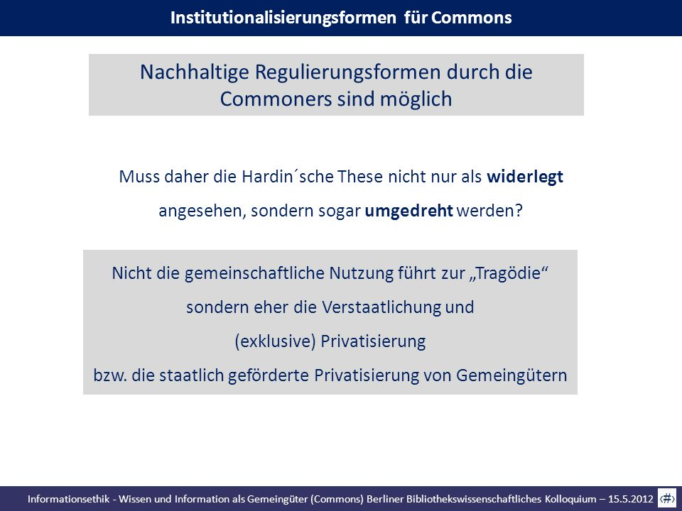 Institutionalisierungsformen für Commons