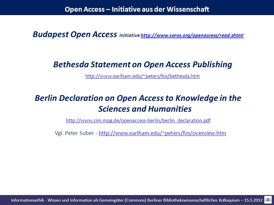 Bethesda Statement on Open Access Publishing