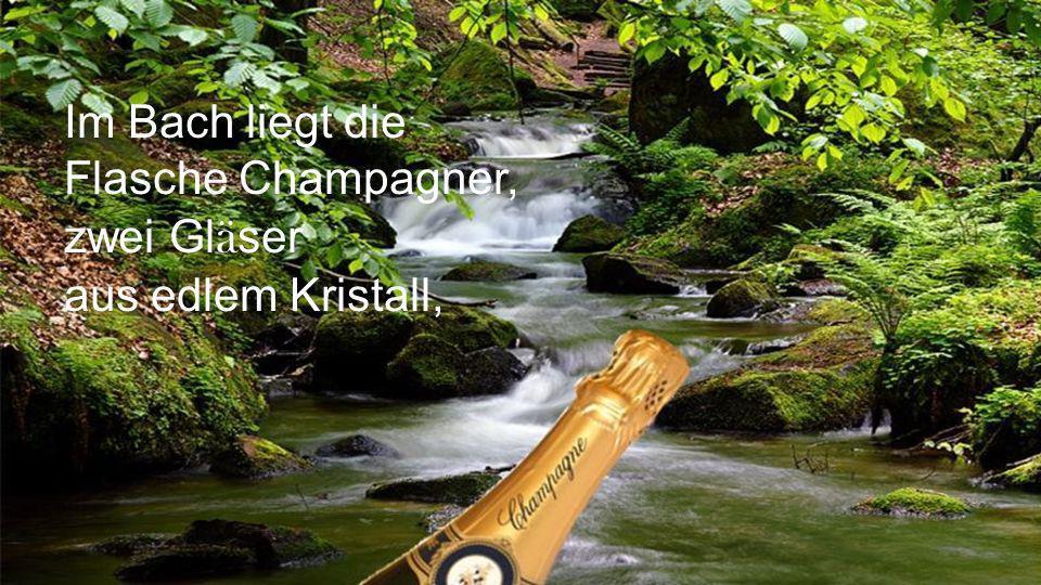 Im Bach liegt die Flasche Champagner, zwei Gläser aus edlem Kristall,