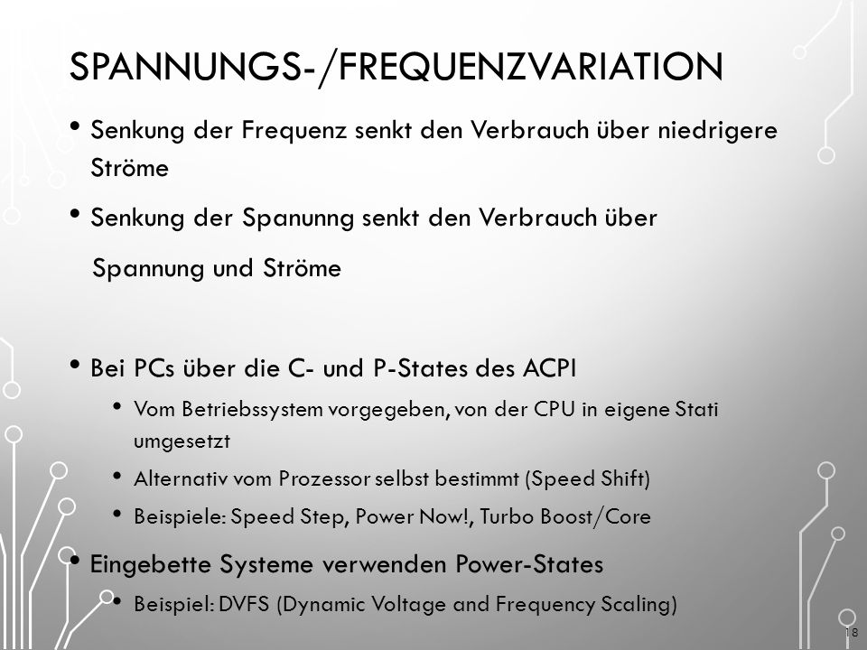 Spannungs-/Frequenzvariation