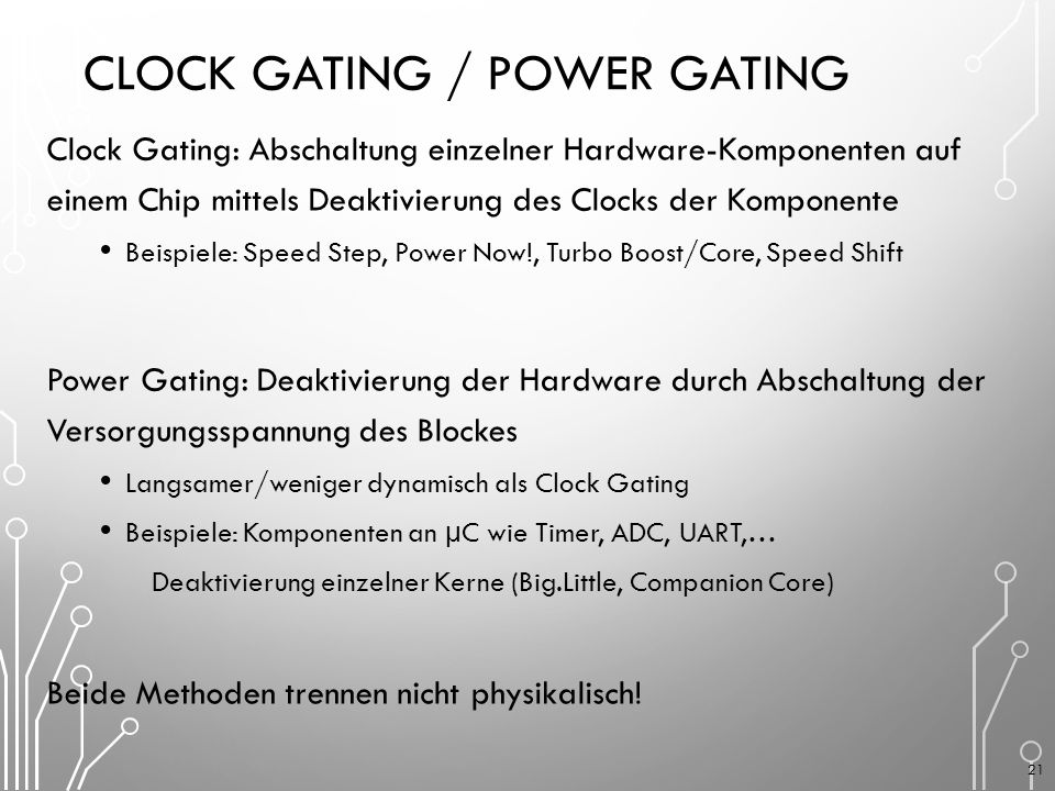 Clock Gating / Power Gating