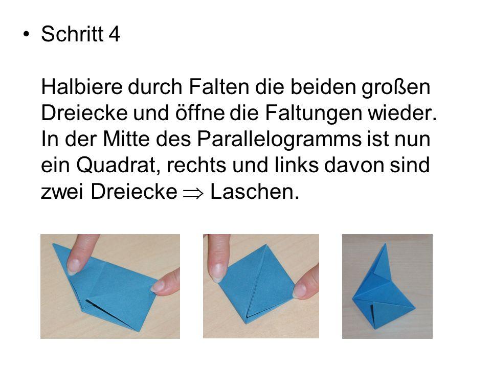 Schritt 4 Halbiere durch Falten die beiden großen Dreiecke und öffne die Faltungen wieder.