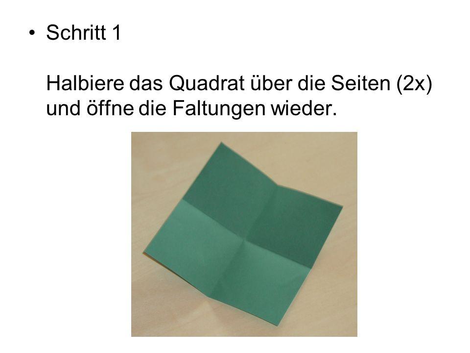 Schritt 1 Halbiere das Quadrat über die Seiten (2x) und öffne die Faltungen wieder.