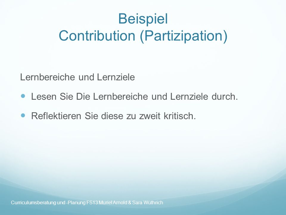 Beispiel Contribution (Partizipation)