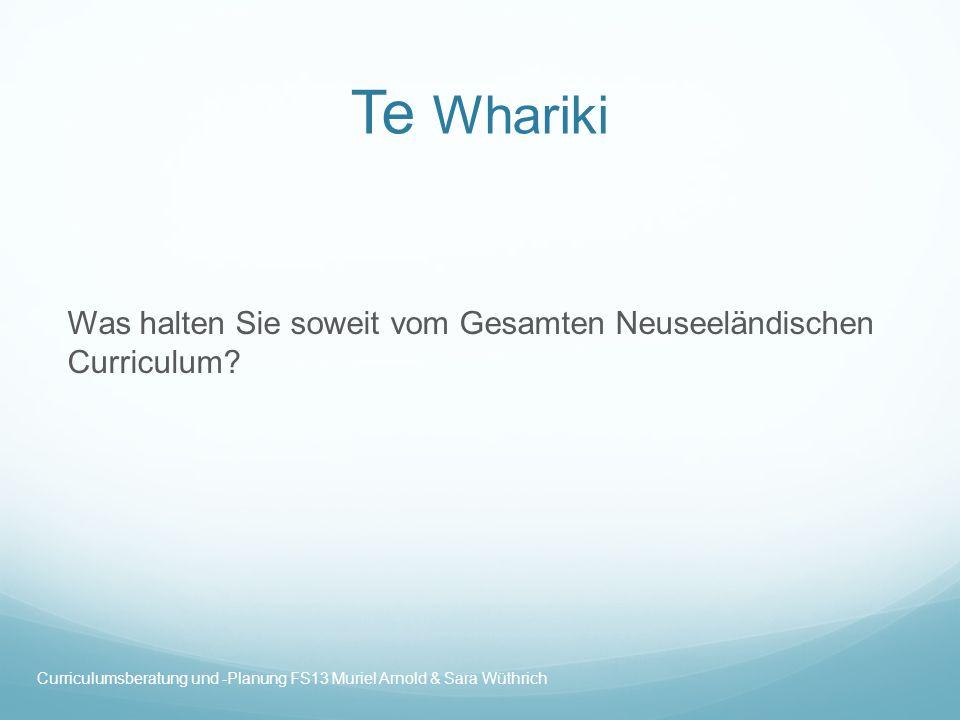 Te Whariki Was halten Sie soweit vom Gesamten Neuseeländischen Curriculum.