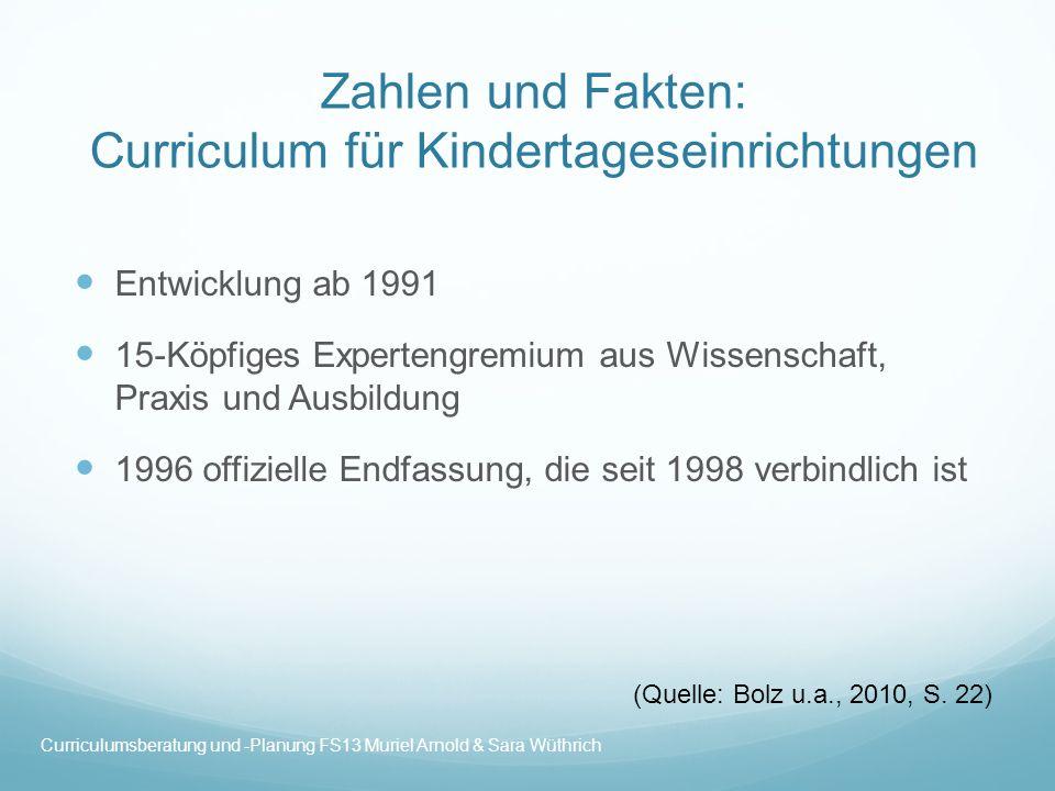 Zahlen und Fakten: Curriculum für Kindertageseinrichtungen
