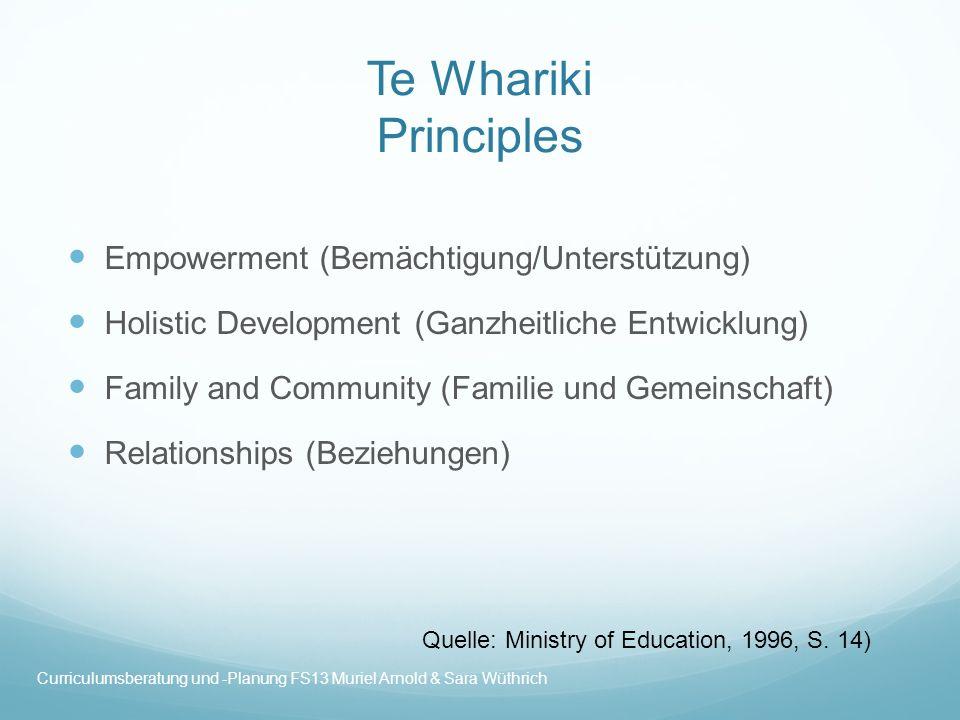 Te Whariki Principles Empowerment (Bemächtigung/Unterstützung)