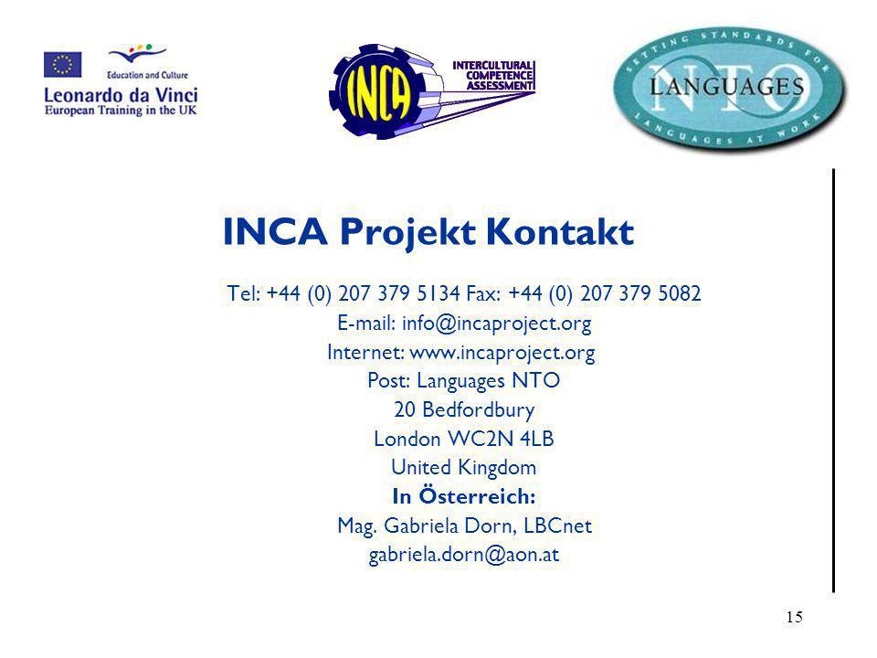INCA Projekt Kontakt Tel: +44 (0) 207 379 5134 Fax: +44 (0) 207 379 5082. E-mail: info@incaproject.org.